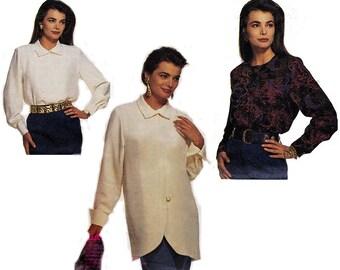 90s Wrap blouse Pattern McCalls 5644 Vintage Paper Pattern Size 10 12 14 UNCUT Factory Folds