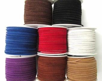 LACE LACING GENUINE Leather Suede Kit 1 Yard x 8 Assorted Colors