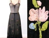 1930s Dress, 30s Bohemian Dress with Silk Chiffon Flowers, Size XS