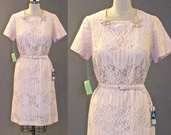 Vintage 60s Dress, 1960s Lace Dress, Deadstock with Tags, Medium
