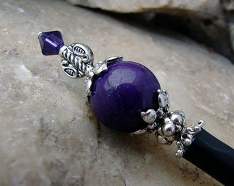 Hair Stick Deep Purple Stone with Purple Velvet Swarovski Crystals and Silver Plate Accents - Clare