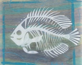 Original Blue Gill Freshwater Fish Skeleton Silhouette Acrylic Painting on Poplar Wood