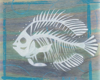 Original Blue Gill Freshwater Fish Skeleton Silhouette Acrylic Painting on Poplar Wood