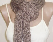 Hand Knitted Scarf Infinity Scarf in Pale Brown for Woman or Man Scarf Knit Mens gift under 20 dollar