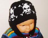 Knitted Skull Beanie Hat with Ear flap Wool Hat for boy hat