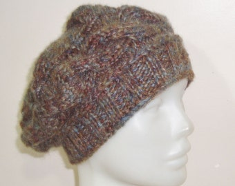 Womens Hats trendy, womens winter hats, with cable band, cable knit earth tones hat gift for womens gift ideas for Women hats