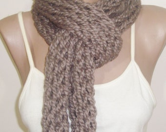 Hand Knitted Scarf Infinity Scarf in Pale Brown for Woman or Man Scarf Knit Mens gift