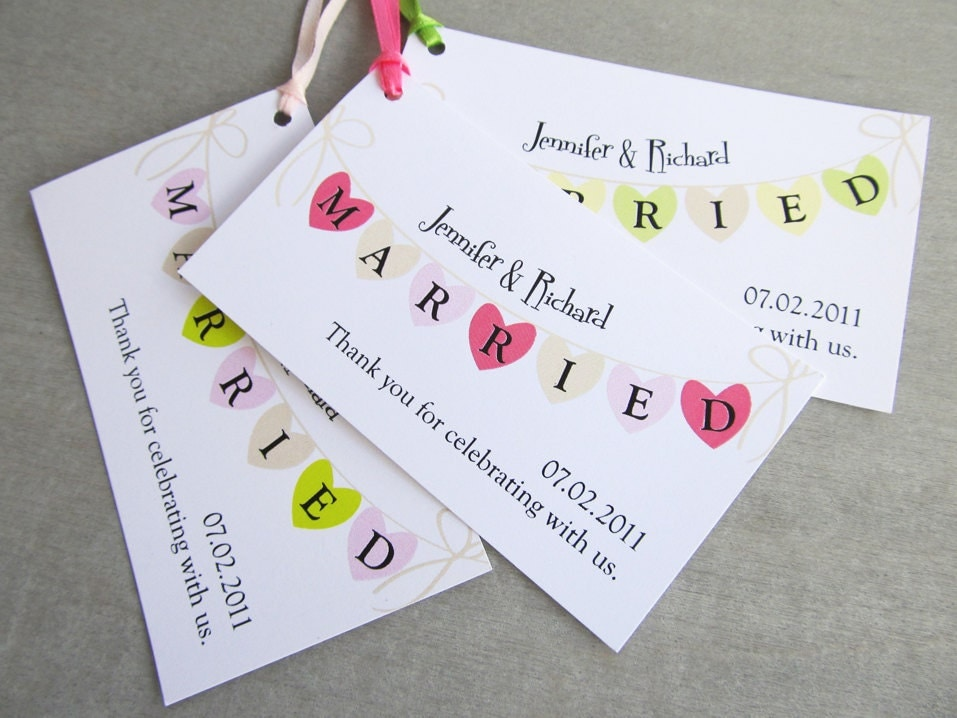Wedding Favor Tags With String : Wedding Favor & Gift Tag Set Heart Strings by deniseannecards
