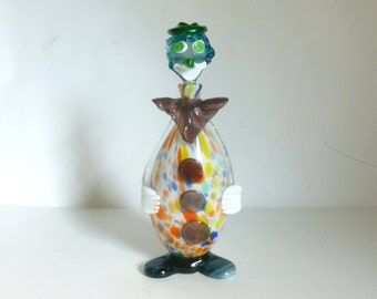 Mid Century Italian Murano Glass Clown Decanter with Ground Stopper
