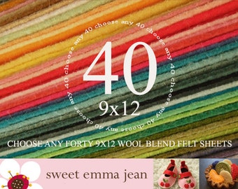Wool Felt Sheets - Choose Any Forty (40) - Merino Wool Blend Felt