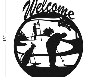 Golfer PGA Black Metal Welcome Sign