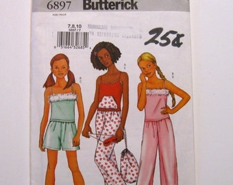 Pajamas Pattern,  Girls, Top, Pants, with Bag and Sleep Mask, 6897 Butterick, UnCut  Pattern, Supplies by NormaSuppliesandKits