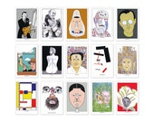 """Seymour Chwast """"The Artists"""" set of 15 postcards. From Seymour Chwast's personal archive."""