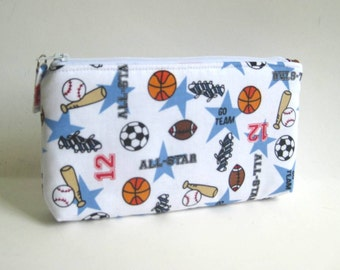 Medium Zipper Pouch in White with Sports Theme