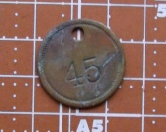 Brass Tag  No.45  Vintage Numbered Tag