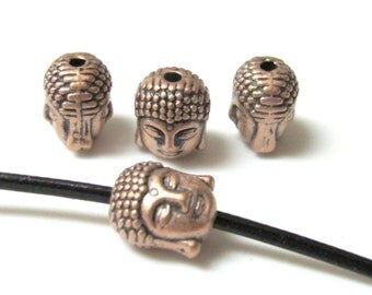 Sale - Reversible copper plated brass metal Tibetan Buddha bead - 10 beads - BD387