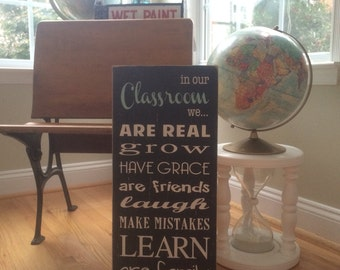 in our Classroom we... Rules Sign in Black with White Letters - perfect for a homeschool family In Stock