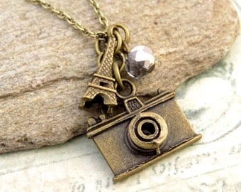 Camera Necklace, Eiffel Necklace, Journey Necklace Friendship Necklace, Gift Idea, Charm Necklace, Bridesmaid Gift, Best Friend Gift