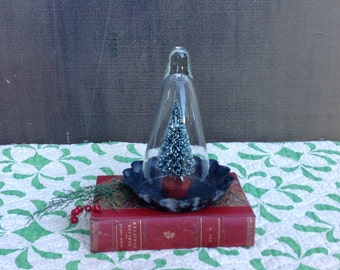 Vintage Glass Cloche and Scalloped Metal Dish - Gnome Cloche