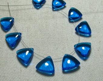 Brand New - 5 Matched Pairs - Swiss Blue Quartz -Smooth Trillion Shape Briolettes amazing Gorgeous colour Huge Size 12x12 mm