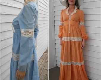 Prairie Dress Corset Gunne Style Vintage Boho Lace Orange or Blue 60s 70s XS
