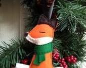 Sleepy Little Fox Handmade Felt Ornament - Green Scarf