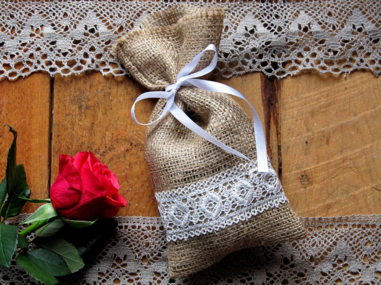 Burlap Linen Favor Bag Burlap Wedding Sachet Small Gift Bag
