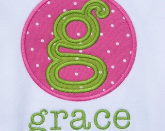 Girls'  Personalized Hot Pink Polka dots and Lime  Initial  T Shirt or Bodysuit