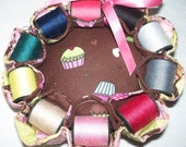 Quilted Pin Cushion With Thread,New Reversible,Two Sided Cupcakes,Sewer Craft Gift,Vintage Pin Cushion,Sewing Accessory