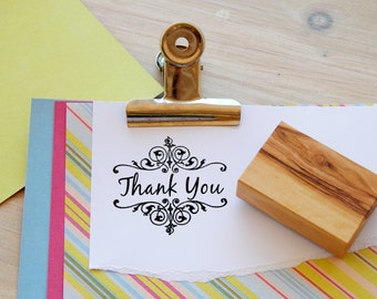Ornate Frame Thank You Olive Wood Stamp