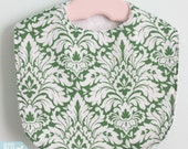 The Dressy Drooler Bib in green and white damask