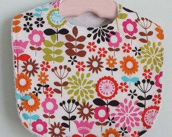 The Dressy Drooler Bib in Multi color floral on white