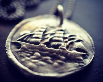 Sailing Ship, Fine Silver Necklace, Antique Wax Seal