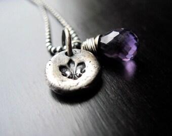 Fine Silver Fleur De Lys Pendant Necklace, Purple Amethyst Briolette