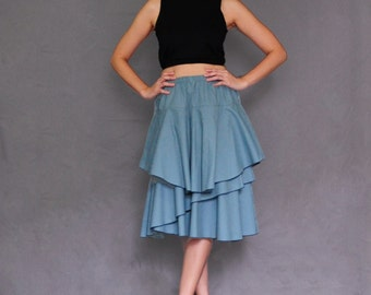 S002- Blue Knee Length Double Layer Ruffle Cotton Skirt