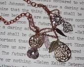OOAK Statement Metal Necklace, Copper Chain Necklace, Multi Metal Statement Necklace