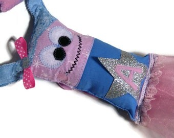 Girls Tooth Fairy Pillow, Fairy Pillow with a Tutu, Personalized, Hangs From a Door Knob - Custom Made to Order With Your Child Initial