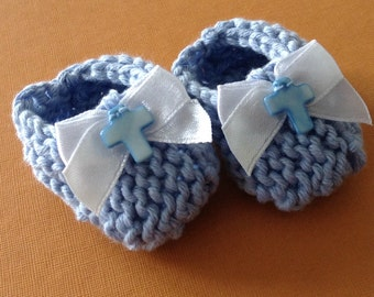 Baptism decorations: little hand knit light blue booties with white ribbon bows and blue MOP cross - 2 inches