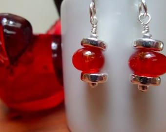 Lamp Work Red Bead Earrings
