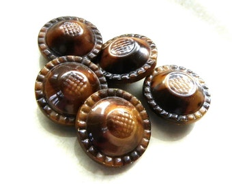 5 Cool Vintage Buttons Brown Swirl Celluloid Top