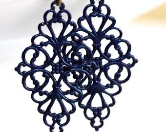 Navy Blue Earrings * Dark Blue Earrings * Earrings Blue * Gypsy Earrings * Painted Earrings * Hippie * Boho Earrings.......*Twice Forgotten*