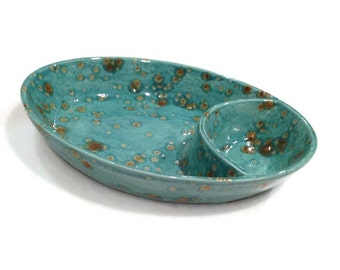 Chip and Dip Bowl in Teal Blue