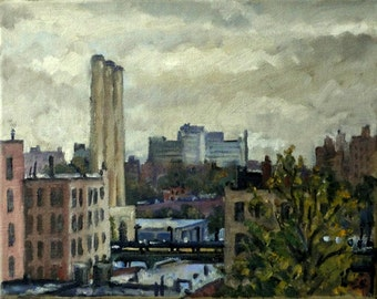 The Bronx View, Overcast NYC. 8x10 Oil on Canvas, Original New York City Painting, American Impressionist Fine Art, Signed Realist Original
