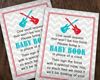 BRING A BOOK Baby Shower Guitar Insert Card in Turquoise Aqua Blue, Red, and Black- Instant Printable Download