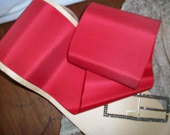 "1 yd. of this Stunning Red Geranium taffeta ribbon 4"""