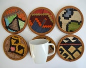 Organic Shine Society Modern Bohemian Throw Cups Coasters. Embroidered Handwoven Vintage Tribal Turkish Kilim Cups Coasters - 6 pcs
