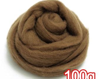 100g Super Fast felting Short Fiber Merino Wool Perfect in Needle Felt Walnut V609