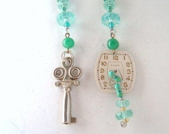 Resistor assymetric earrings cyberpunk geekery green and blue watch and key danglers