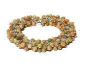 Beautiful Mayflower Jasper Bracelet / Sterling Silver / Bohemian / Wire Wrapped / Multicolor / Modern / Peach / Green / Gifts For Her / OOAK