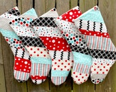 Christmas Stockings, Quilted Patchwork, Set of 5, Red, Teal, Black, Gray, Polka Dot, Chevron, Black Friday, Cyber Monday Sale